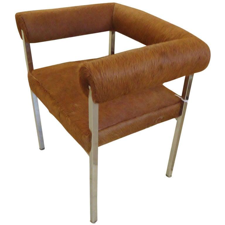Furry Cowhide Mid Century Modern Desk Chair at 1stdibs