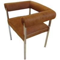 Furry Cowhide Mid Century Modern Desk Chair