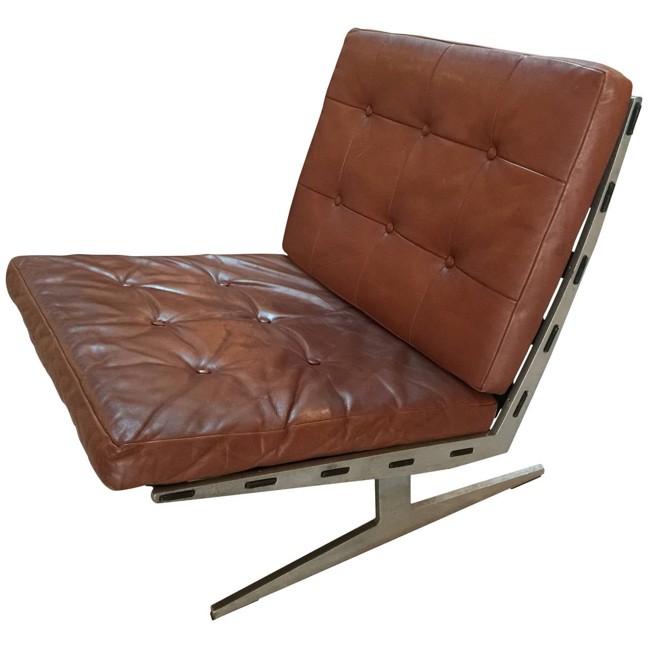 brown leather slipper chair universal fishing rod rest by paul leidersdorff at 1stdibs