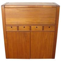 Mid Century Danish Teak Convertible Rolling Bar Cabinet at ...