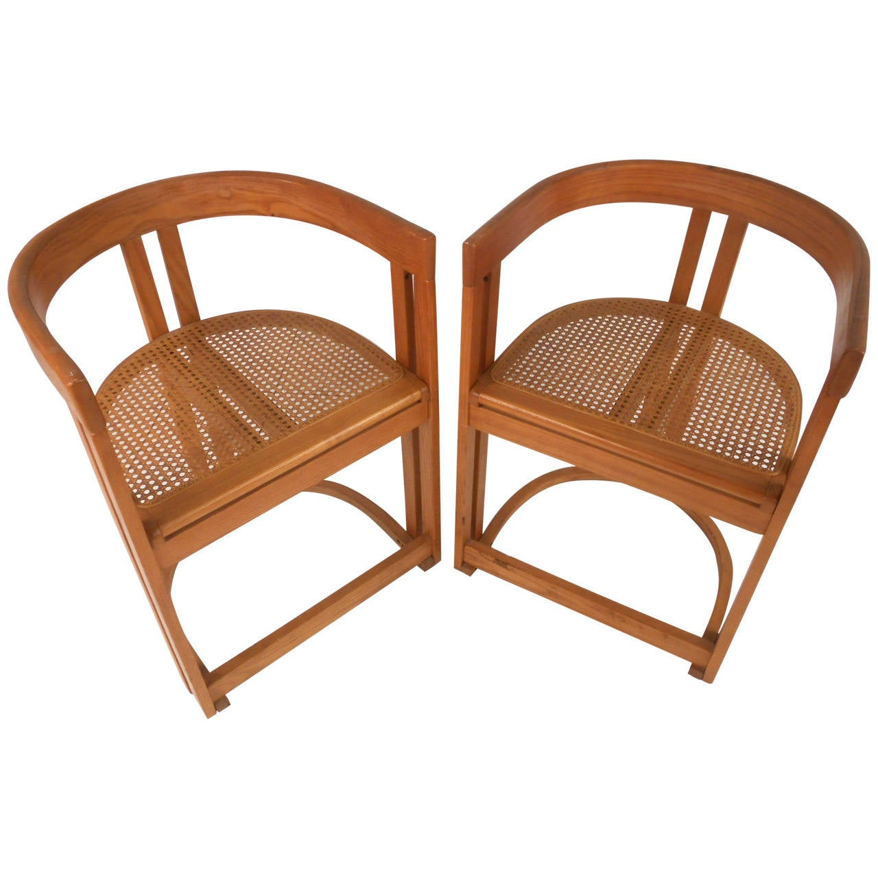 mid century modern cane barrel chairs wicker at pier one pair style vermont tubbs seat side
