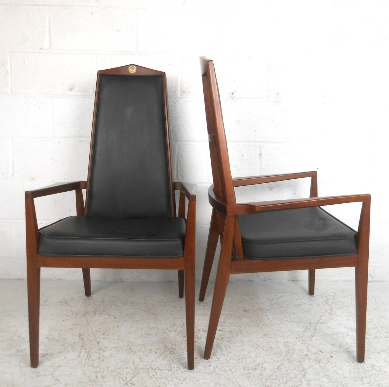 dining room high back chairs wooden bankers chair with arms unique mid century modern set table