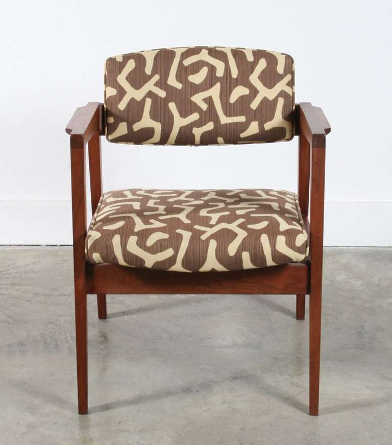 wh gunlocke chair revolving stand w.h. walnut chairs, set of 3 at 1stdibs