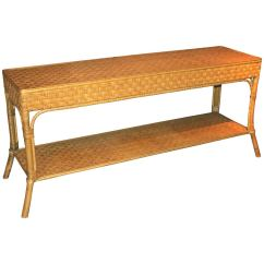 Legare Bamboo Sofa Table Small Sectional With Chaise And Ottoman Wicker Console Or At 1stdibs