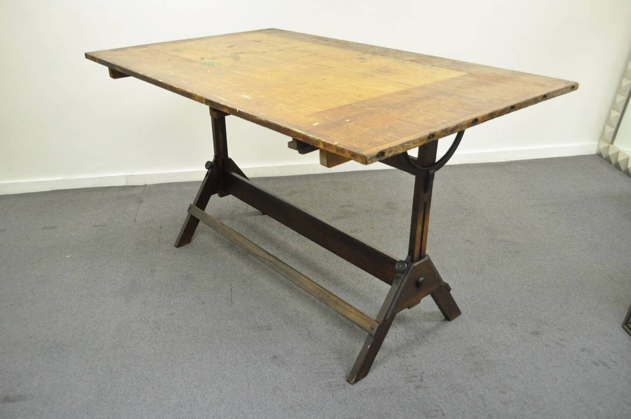 drafting table chairs lowes plastic chair mat large antique american industrial oak and cast iron