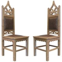 Pair of Tall Gothic Revival Chairs at 1stdibs