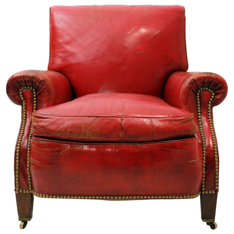 Red Leather Club Chair at 1stdibs
