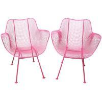 Fun Pair of Pink Woodard Mesh Sculptra Patio Chairs Mid ...
