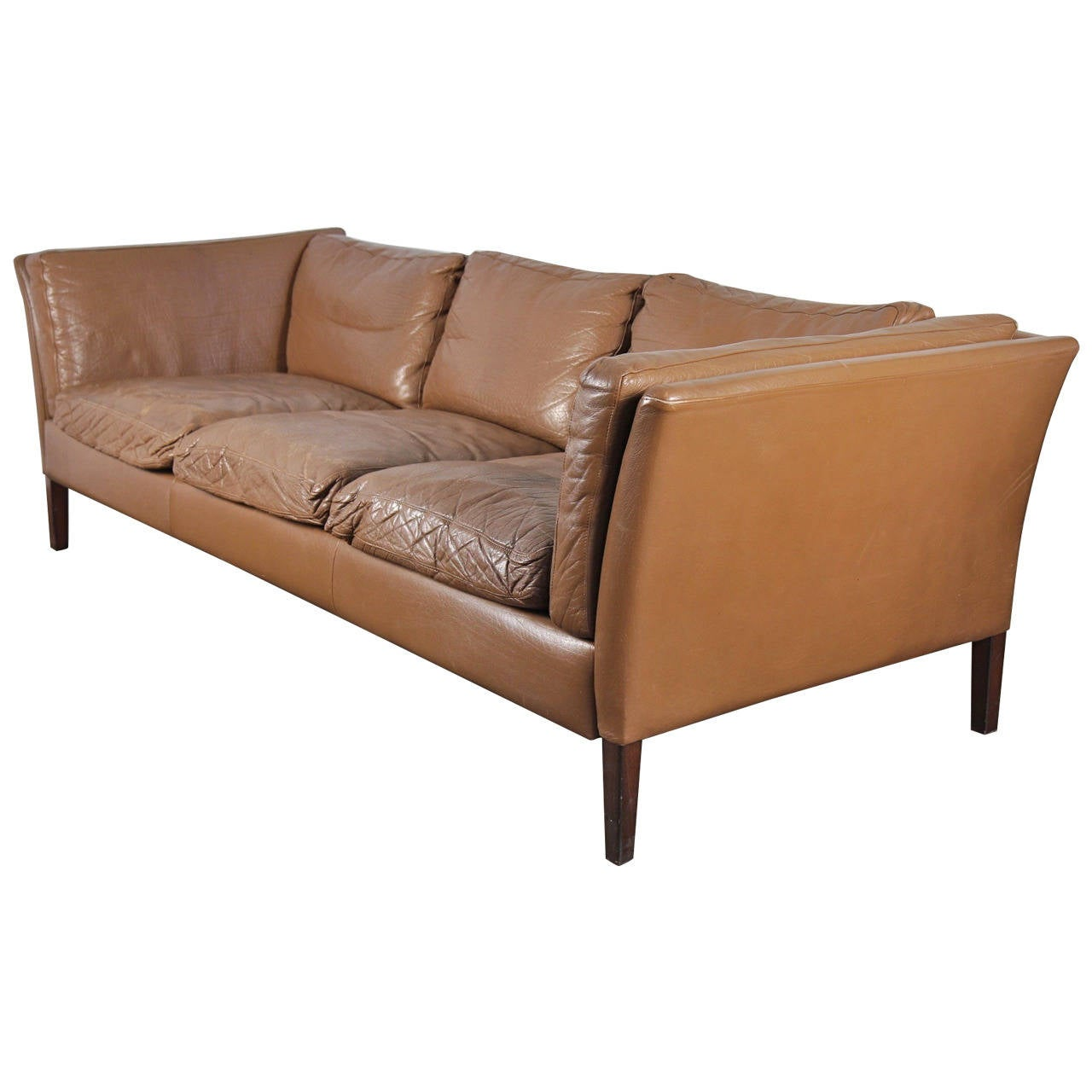 1960s Danish Modern Leather Sofa at 1stdibs