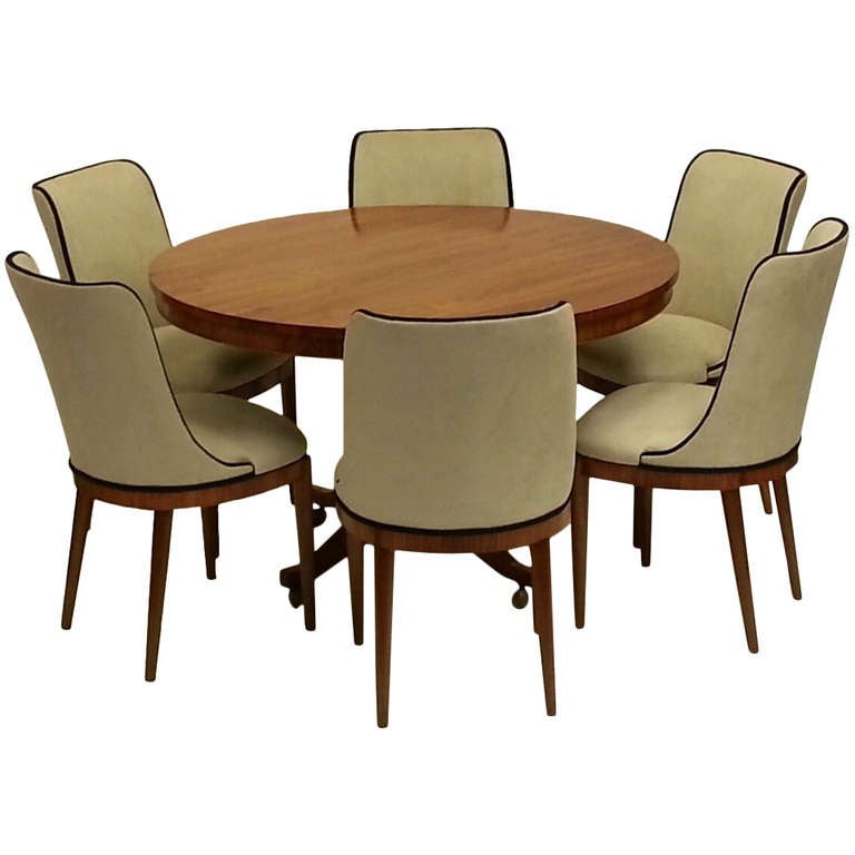suede dining table chairs sears and recliners art deco six at 1stdibs