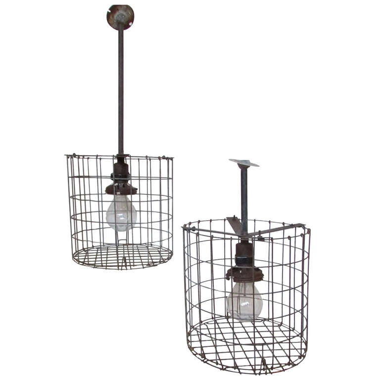 1930's American Industrial Cage Lights at 1stdibs