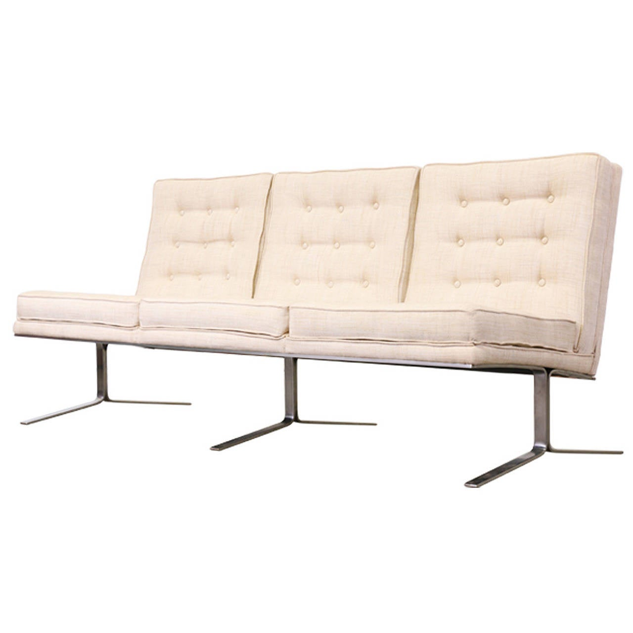 sofa with legs or without who will collect my for free florence knoll style tufted w steel at 1stdibs