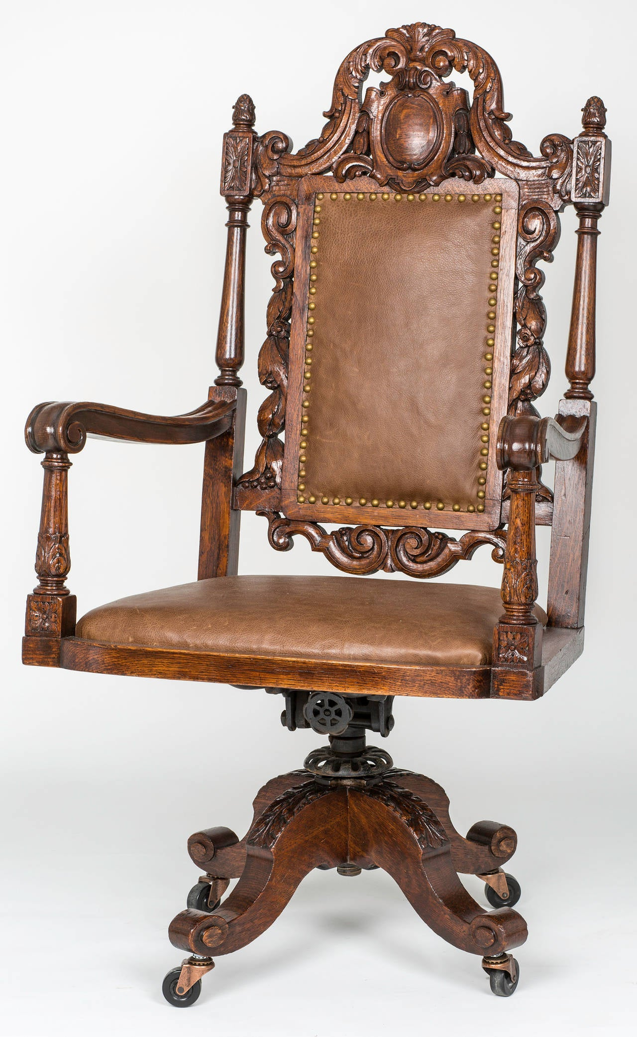 antique leather swivel desk chair plastic wood adirondack chairs large executive at 1stdibs