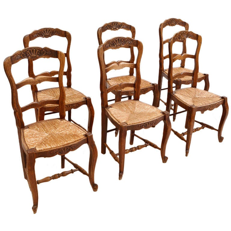 Set Of 6 Six French Provincial Dining Chairs In Walnut