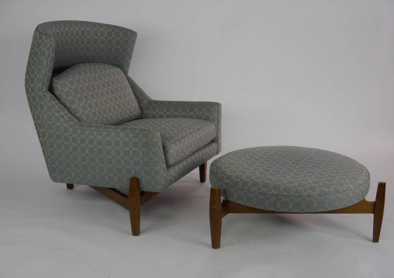 big chair with ottoman papasan stool cushions rare jens risom quotbig quot at 1stdibs