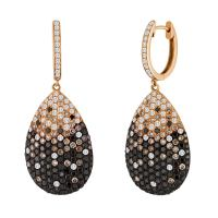 Black Champagne and White Diamond Gold Drop Earrings at ...