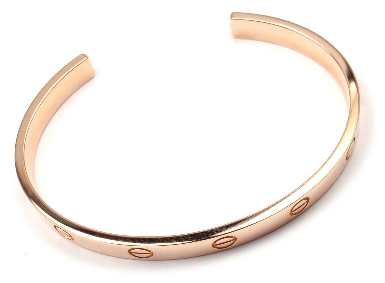 Cartier Love Rose Gold Open Cuff Bangle Bracelet At 1stdibs