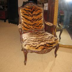 Tiger Print Chair Office Back Support Cushion 18th C French Arm With Silk Velvet Textile At