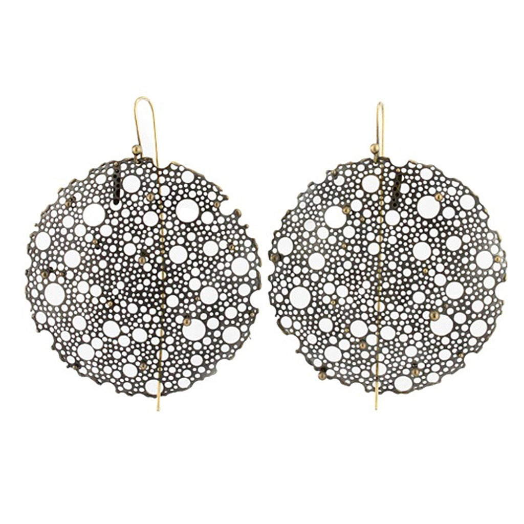 Ted Muehling Queen Anne's Lace Black Diamond Earrings