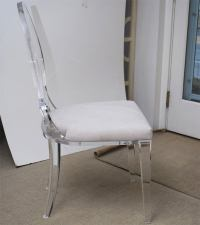 Lucite Dining Chair Upholstered in Ultrasuede at 1stdibs