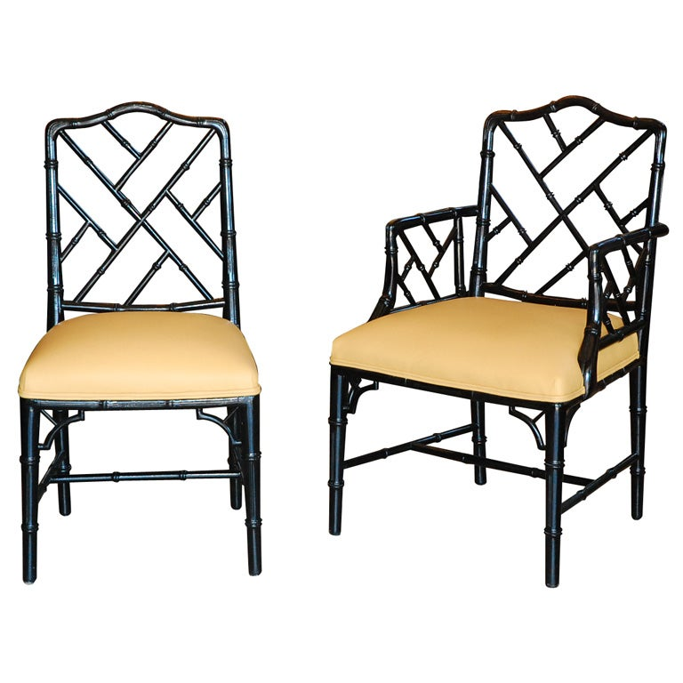 Set Of Six Vintage Faux Bamboo Chippendale Style Chairs
