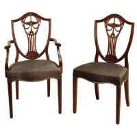 Set of 12 Hepplewhite Style Shield Back Dining Chairs at ...