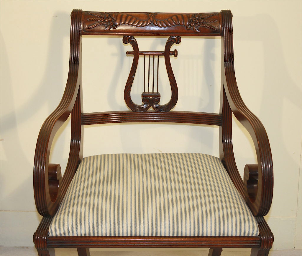 Lyre Back Chairs 6 Lyre Back Mahogany Klismos Dining Chairs At 1stdibs