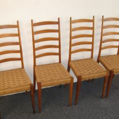 Wicker Ladder Back Chairs Tall Swivel Chair Set Of Four Italian Woven Seat Dining