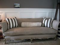 Antique French Sofa in Belgian Linen and Down Cushion at ...