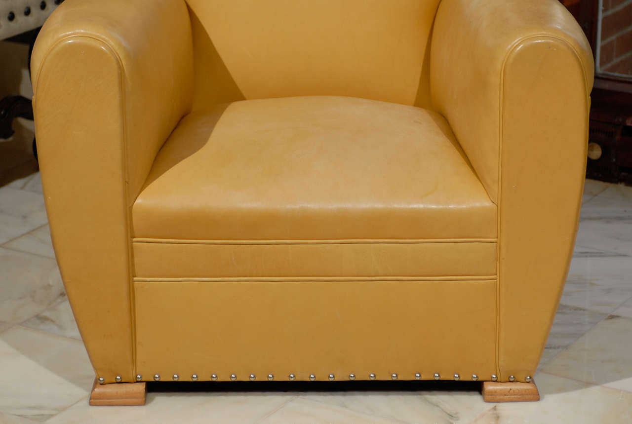 yellow club chair under storage handsome art deco chairs in ochre leather at