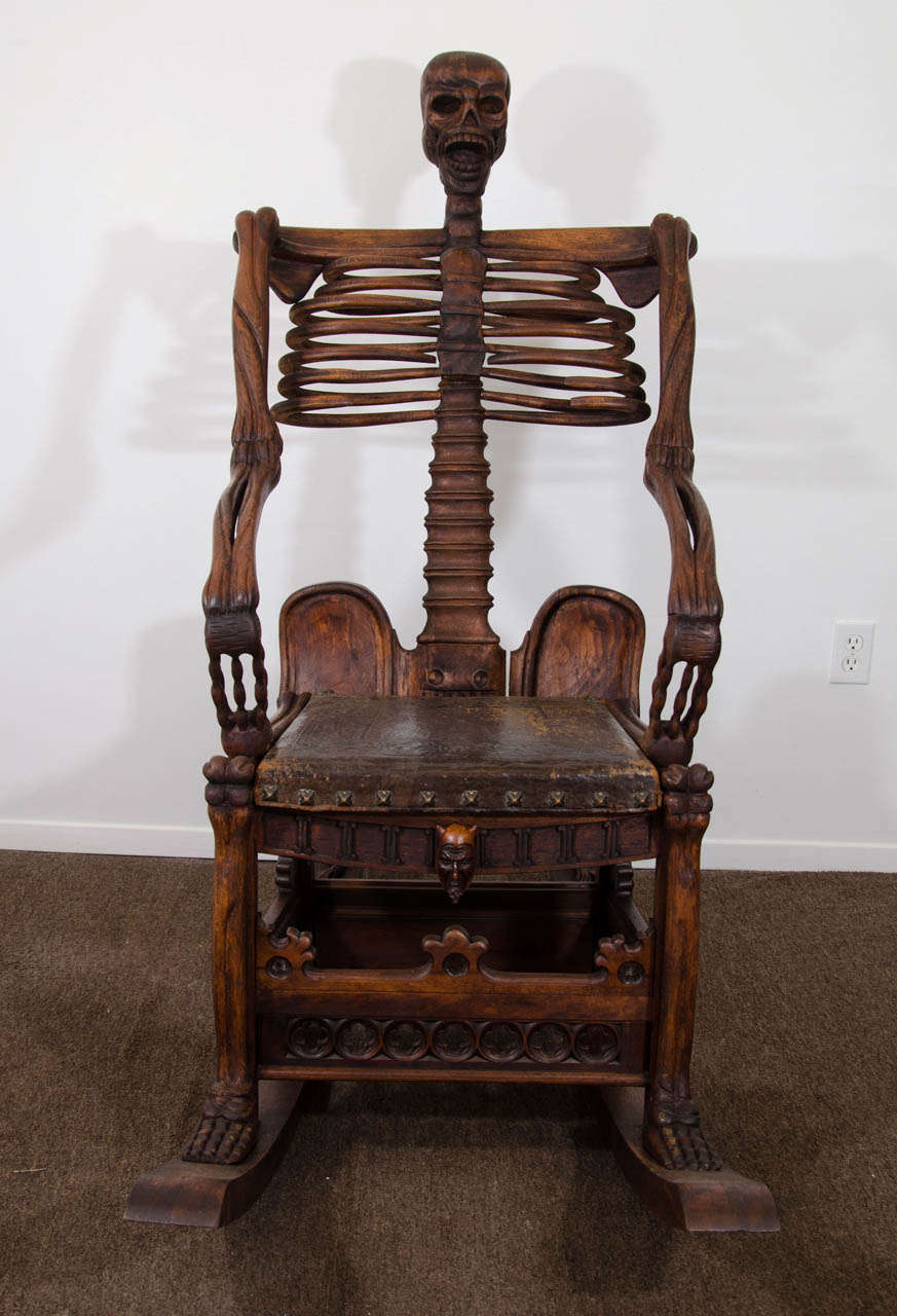 rocking chair leather and wood kids table set clearance an antique hand-carved skeleton at 1stdibs