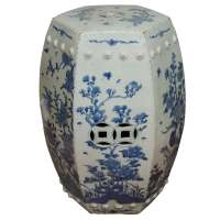 Blue and White Chinese Garden Stool at 1stdibs