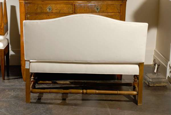 French Upholstered Bench with Back
