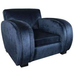 Navy Blue Velvet Club Chair Outdoor Reclining Lounge Art Deco Streamlined In