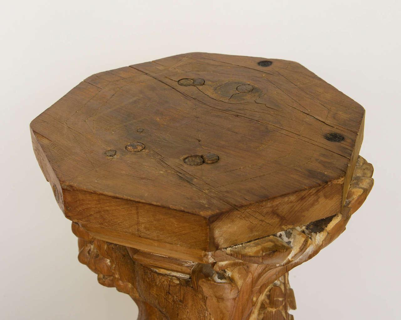 Art Nouveau Carved Wood Figural Pedestal Or Sculpture At