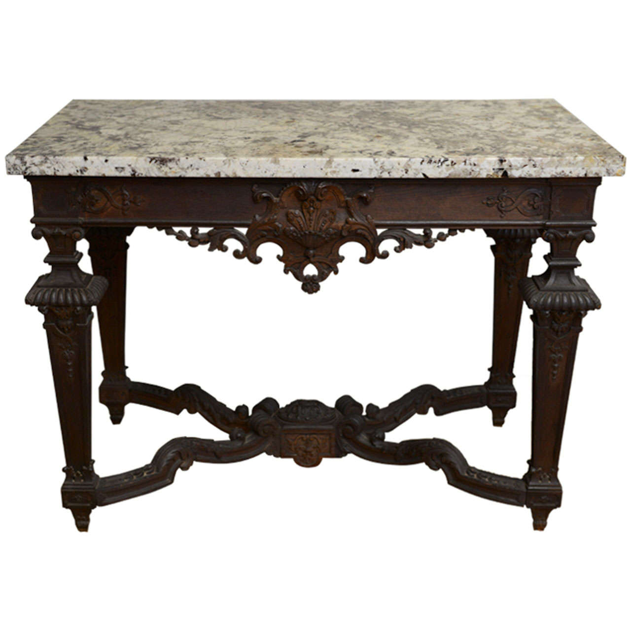 granite top sofa table pottery barn charleston slipcover craigslist finely carved 19c oak console with at