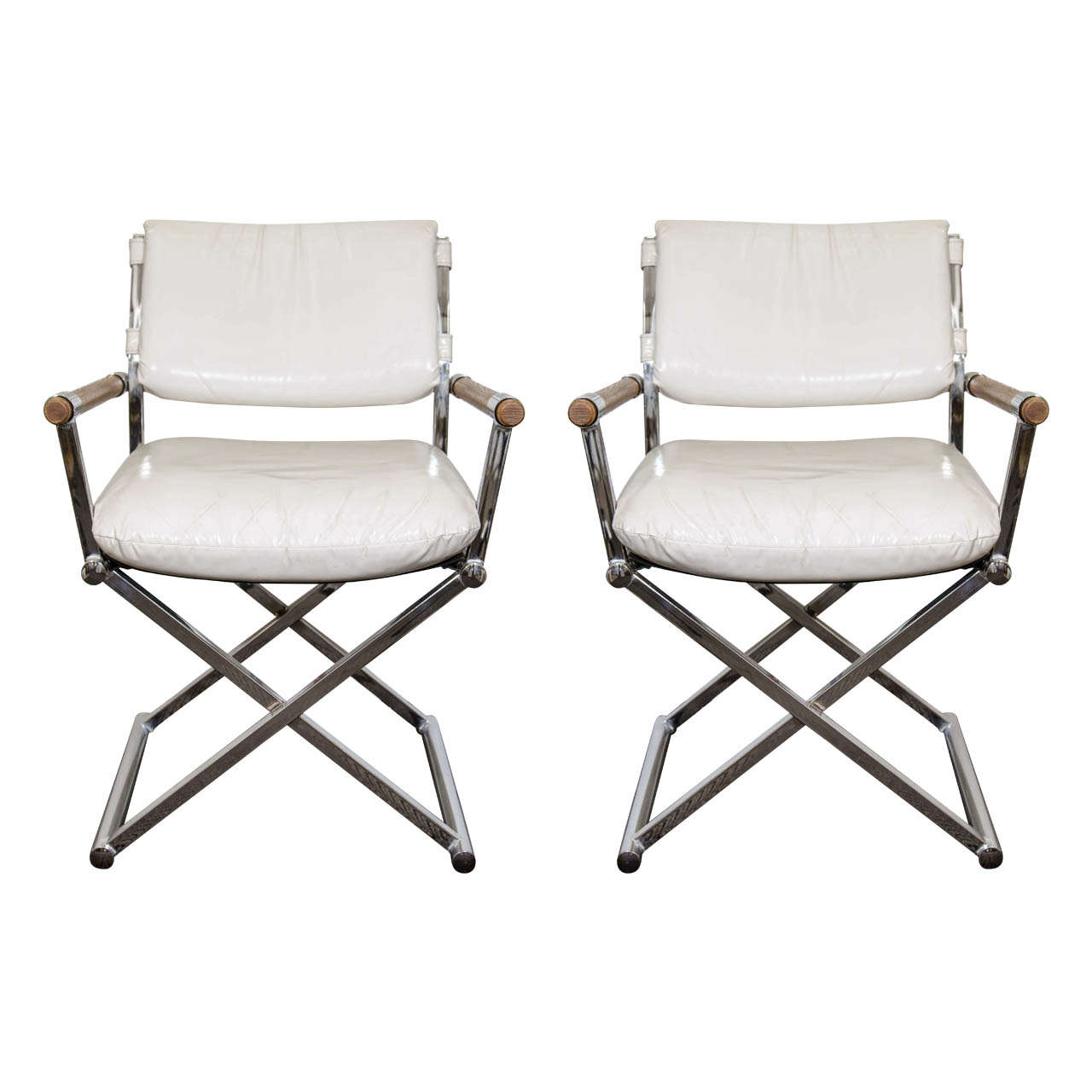 directors chair white christmas covers pattern a mid century pair of leather director 39s chairs w x