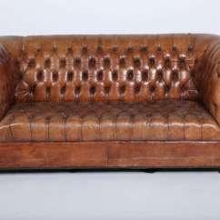 Ralph Lauren Home Chesterfield Sofa Herringbone Slipcover Leather