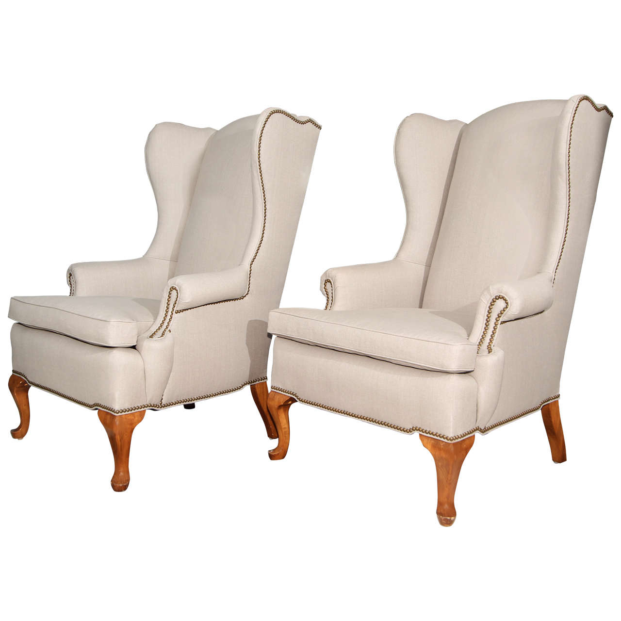 nailhead wingback chair covers for outdoor furniture pair of grey linen and wing chairs
