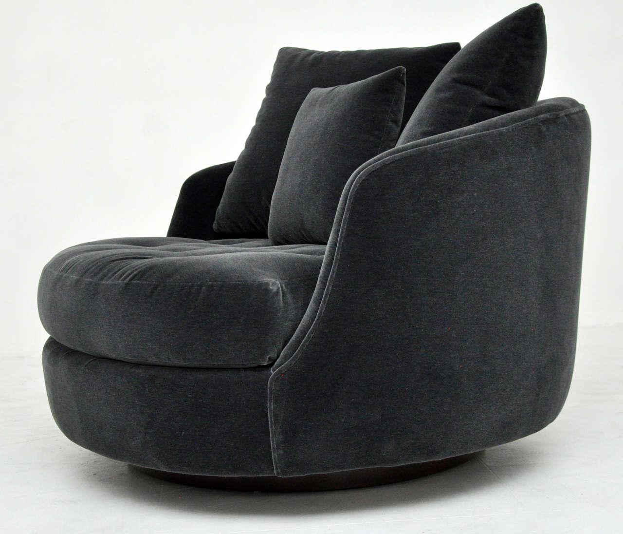 swivel chair large velvet lounge with ottoman milo baughman at 1stdibs