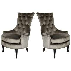 High Back Tufted Chair Black Leather Computer Ultra Chic Pair Of Mid Century Modern