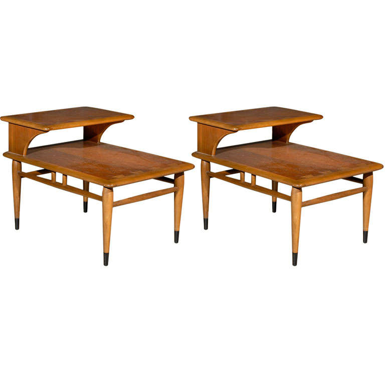 Pair Mid Century Lane Two Tier End tables at 1stdibs