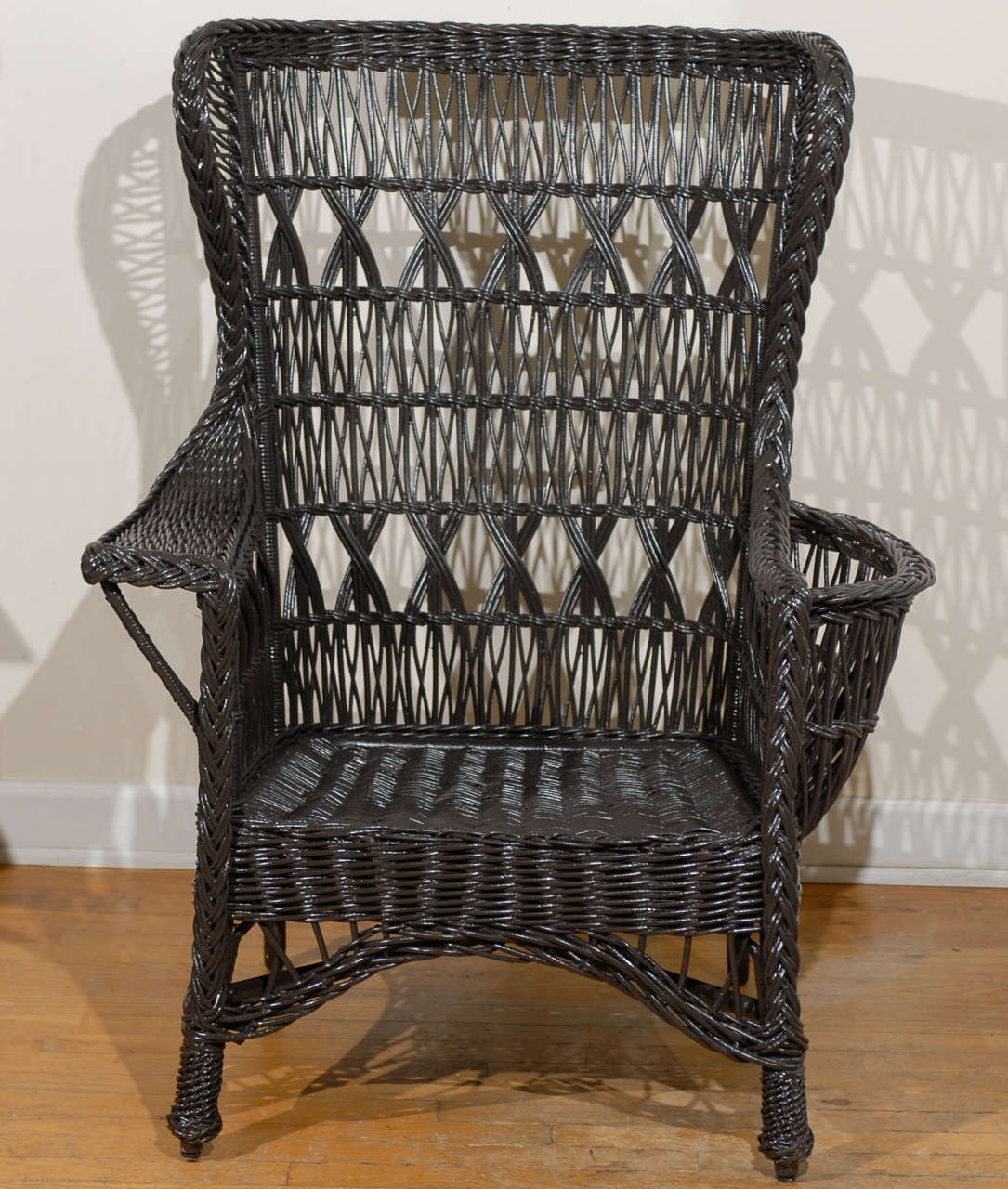 wicker wingback chairs adjustable patio antique american wing chair with magazine pocket at