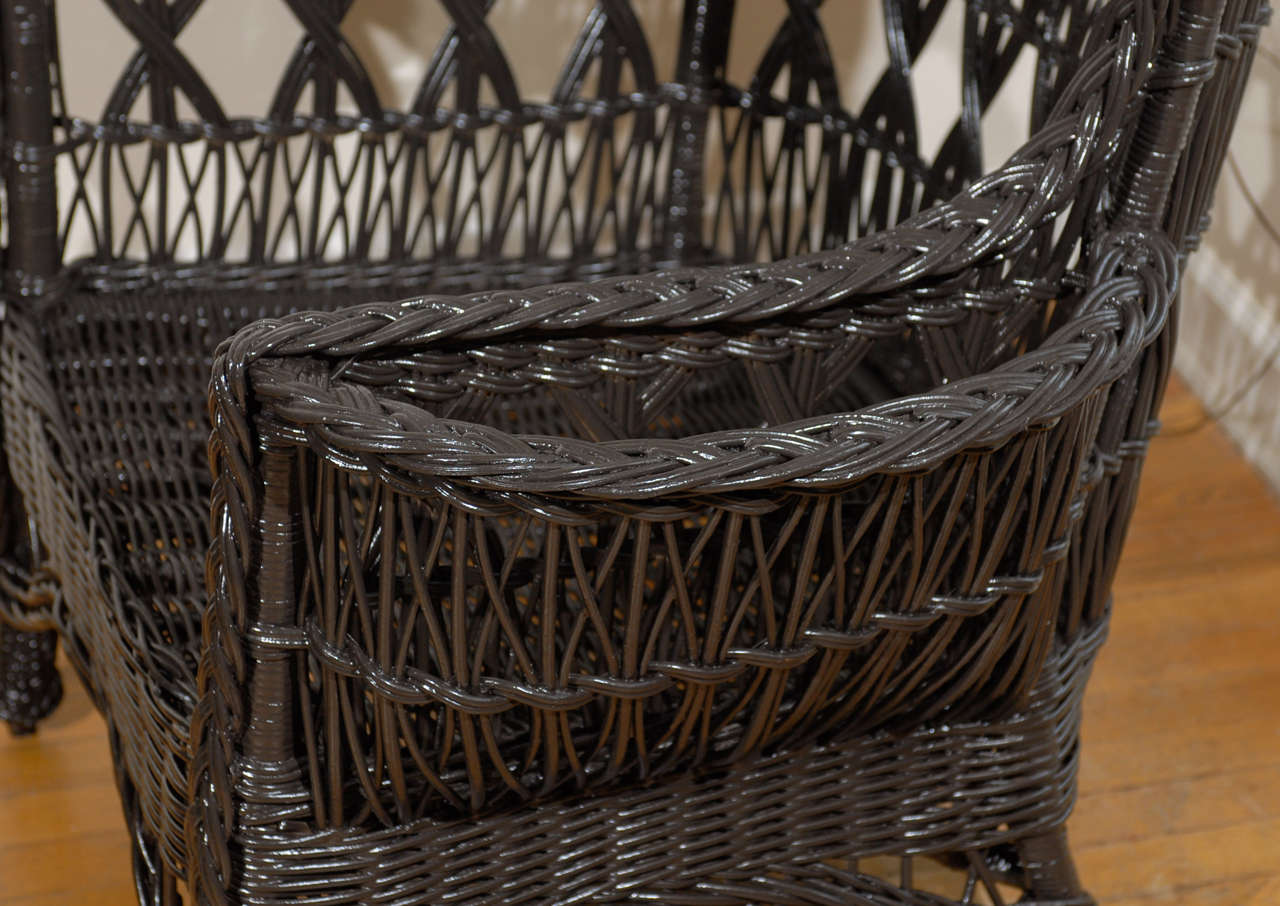 antique wicker chairs black office with wheels american wing chair magazine pocket at