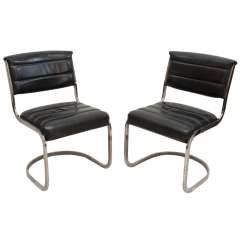 Leather Chrome Chair Vintage Step Stool Set Of Four Ribbed Black And Cantilever