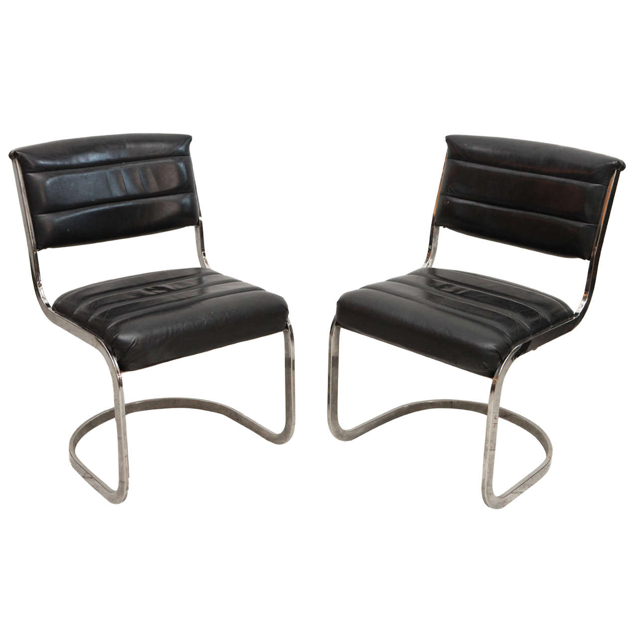 Black Leather Dining Chairs Set Of Four Ribbed Black Leather And Chrome Cantilever