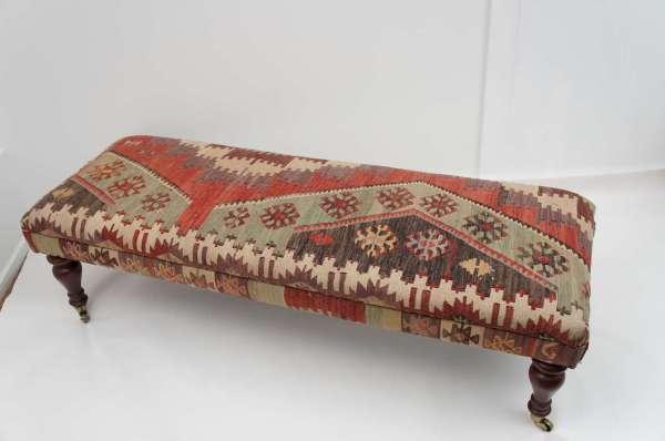 Upholstered Kilim Ottomans Benches