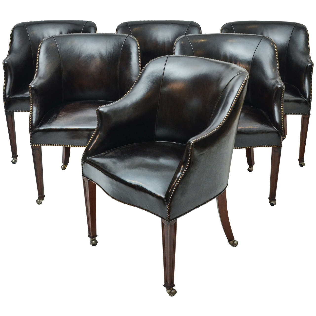 leather chairs of bath london clear for sale set six 1940s upholstered dining from