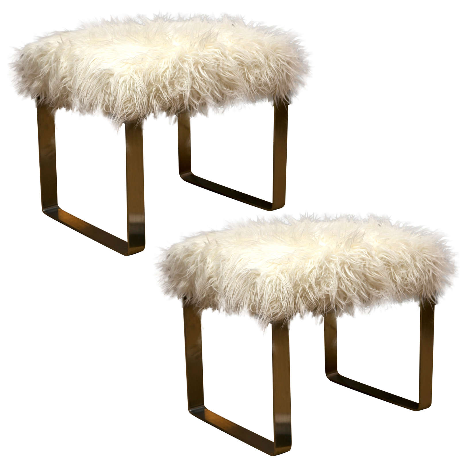 vanity chair white fur sprout high mongolian lamb stools at 1stdibs