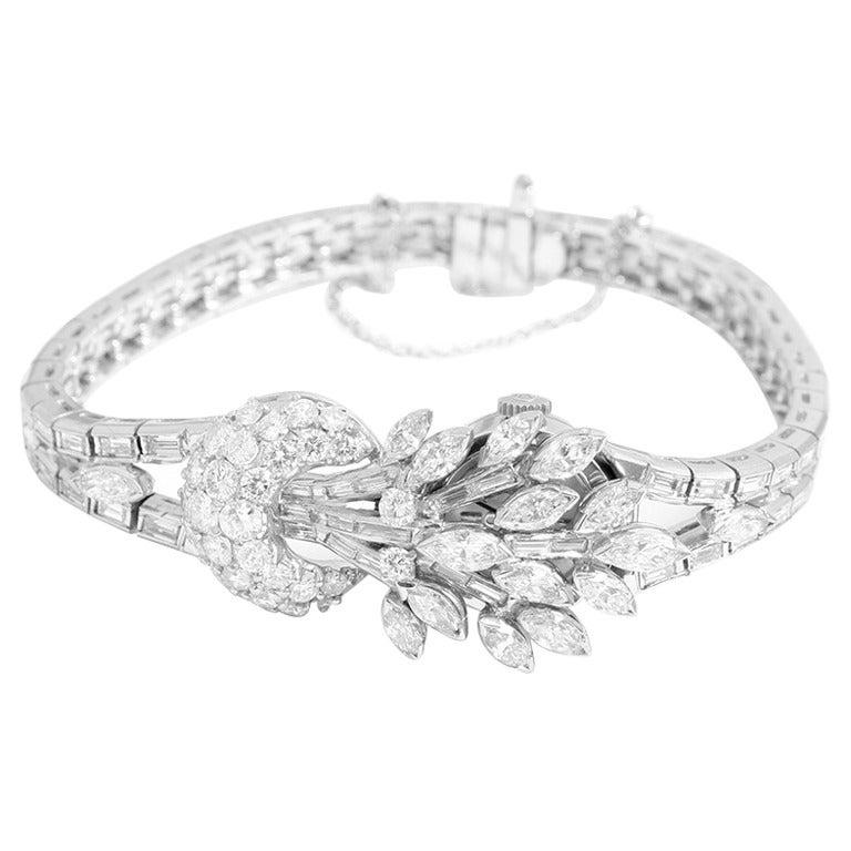 Vintage Omega 18k White Gold Ladies Diamond Watch at 1stdibs
